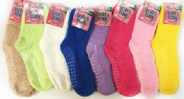 60 Units of Solid Color Ladies' Fuzzy Socks with Anti Skid Assorted - Womens Fuzzy Socks