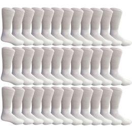 36 Units of Yacht & Smith Men's Loose Fit NoN-Binding Soft Cotton Diabetic Crew Socks Size 10-13 White - Men's Diabetic Socks