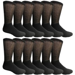 12 Units of Yacht & Smith Men's Loose Fit Non-Binding Soft Cotton Diabetic Crew Socks Size 10-13 Black - Men's Diabetic Socks
