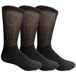 3 Units of Yacht & Smith Men's Loose Fit Non-Binding Soft Cotton Diabetic Crew Socks Size 10-13 Black - Men's Diabetic Socks