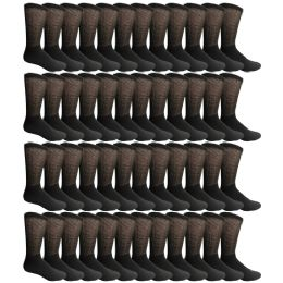 48 Units of Yacht & Smith Men's Loose Fit Non-Binding Soft Cotton Diabetic Crew Socks Size 10-13 Black - Men's Diabetic Socks