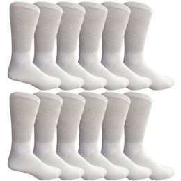 12 Units of Yacht & Smith Men's King Size Loose Fit NoN-Binding Cotton Diabetic Crew Socks White Size 13-16 - Big And Tall Mens Diabetic Socks