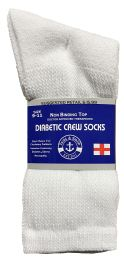 120 Units of Yacht & Smith Women's Cotton Diabetic Non-Binding Crew Socks - Size 9-11 White - Women's Diabetic Socks