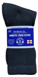 120 Units of Yacht & Smith Women's Cotton Diabetic Non-Binding Crew Socks Size 9-11 Black - Women's Diabetic Socks