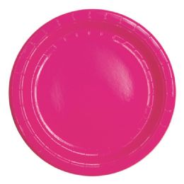 96 Units of Nine Inch Eight Count Paper Plate Hot Pink - Party Paper Goods