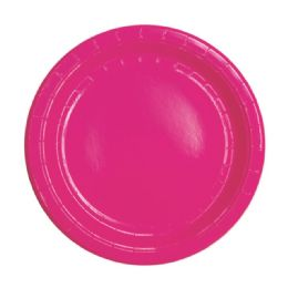 96 Units of Seven Inch Eight Count Paper Plate Hot Pink - Party Paper Goods