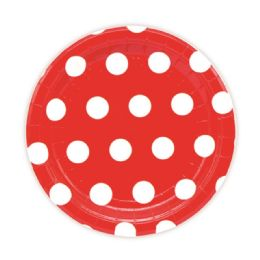 144 Units of Seven Inch Eight Count Paper Plate Red Polka Dot - Party Paper Goods