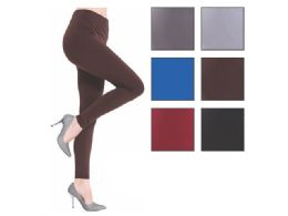 36 Units of Fleece Women's Assorted Color Leggings One Size Fits All - Womens Leggings