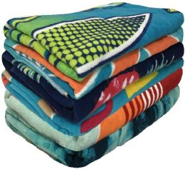"""48 Units of Assorted 100% Cotton Beach Towels - 27"""" X 60"""" - Beach Towels"""