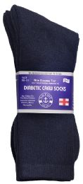 3 Units of Yacht & Smith Men's Loose Fit NoN-Binding Soft Cotton Diabetic Crew Socks Size 10-13 Navy - Diabetic Socks
