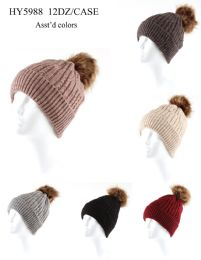 36 Units of Ladies Ribbed Pompom Hat Assorted Colors - Winter Hats