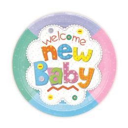 144 Units of Seven Inch Eight Count Paper Plate New Baby Design - Party Favors