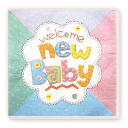 96 Units of Luncheon Napkin Twenty Count New Baby Design - Party Favors