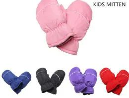144 Units of Childrens Ski Mittens Assorted Color - Ski Gloves