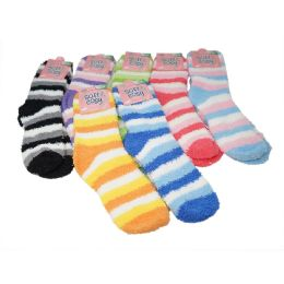 144 Units of Winter Super Soft Warm Women Soft & Cozy Fuzzy Socks - Size 9-11 - Womens Fuzzy Socks