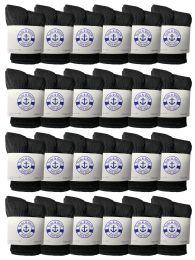 24 Units of Yacht & Smith Kids Value Pack Of Cotton Crew Socks Size 2-4 Black - Boys Crew Sock