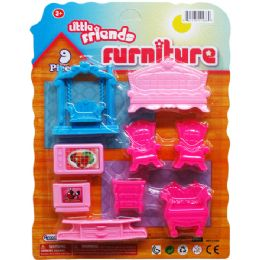 72 Units of LITTLE FRIENDS FURNITURE SET ON BLISTER CARD - Girls Toys