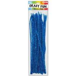 144 Units of Forty Count Tinsel Stems Blue - Craft Stems