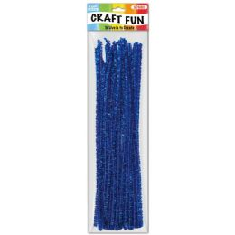 144 Units of Forty Count Tinsel Stems Dark Blue - Craft Stems