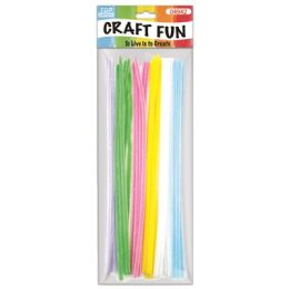 144 Units of Thirty Count Chenille Stems Pastel Colors - Craft Stems