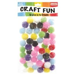 144 Units of Fuzzy Ball Craft Fifty Pack - Craft Stems