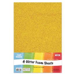 96 Units of Eva Glitter Sheet Gold Foam - Foam & Felt