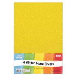 96 Units of Eva Glitter Sheet Yellow Foam - Foam & Felt