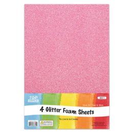 96 Units of Eva Glitter Sheet Pink Foam - Foam & Felt