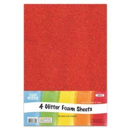 96 Units of Eva Glitter Sheet Red Foam - Foam & Felt