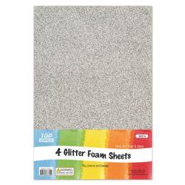 96 Units of Eva Glitter Sheet Silver Foam - Foam & Felt