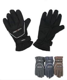 72 Units of Men Thermal Lining Waterproof Winter Ski Gloves - Ski Gloves