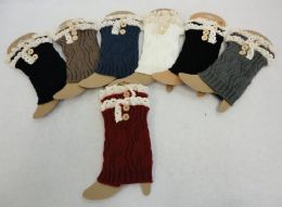 12 Units of Knitted Boot Cuffs With Antique Lace [2 Buttons] - Womens Leg Warmers