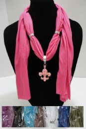 "96 Units of Scarf Necklace-Jeweled Fleur De Lis 70"" - Womens Fashion Scarves"