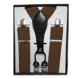 12 Units of Solid Brown Suspenders - Suspenders