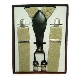 12 Units of Solid Khaki Suspenders - Suspenders