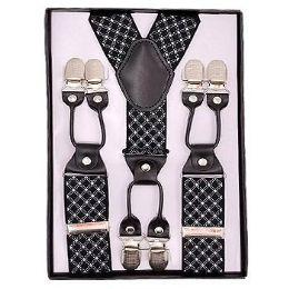 12 Units of Pattern Suspenders Black & White - Suspenders