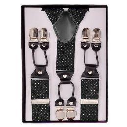 12 Units of Pattern Suspenders Black & White Polka Dot - Suspenders