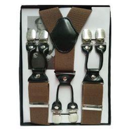 12 Units of Solid Suspenders Brown - Suspenders