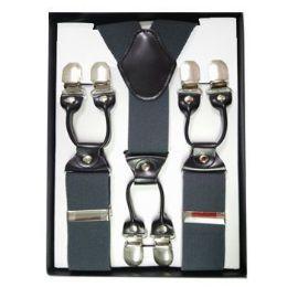12 Units of Solid Suspenders Gray - Suspenders