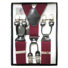 12 Units of Solid Suspenders Burgundy - Suspenders