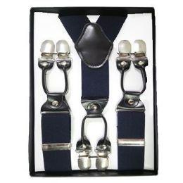 12 Units of Solid Suspenders Navy - Suspenders
