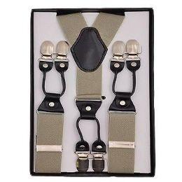 12 Units of Solid Suspenders Khaki - Suspenders