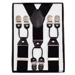 12 Units of Solid Suspenders Black - Suspenders