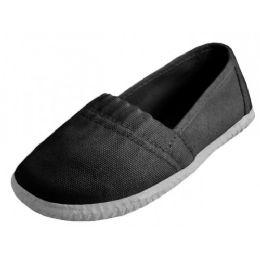 36 Units of Toddler's Elastic Upper Slip On Canvas Shoes ( *black Color ) - Toddler Footwear