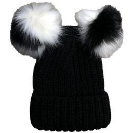Yacht & Smith Womens 3 Inch Double Pom Pom Ribbed Beanie Hat, Black - Fashion Winter Hats