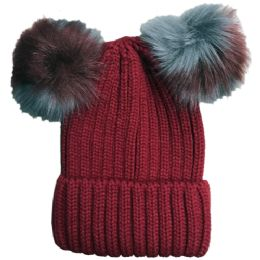 Yacht & Smith Womens 3 Inch Double Pom Pom Ribbed Beanie Hat, Wine - Fashion Winter Hats