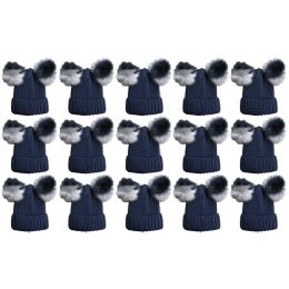 15 Units of Yacht & Smith Womens 3 Inch Double Pom Pom Ribbed Beanie Hat, Navy Value Pack - Fashion Winter Hats