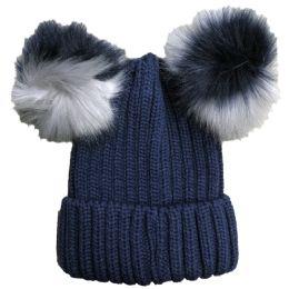 Yacht & Smith Womens 3 Inch Double Pom Pom Ribbed Beanie Hat, Navy - Fashion Winter Hats