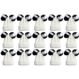 15 Units of Yacht & Smith Womens 3 Inch Double Pom Pom Ribbed Beanie Hat, Cream Value Pack - Fashion Winter Hats
