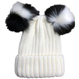 Yacht & Smith Womens 3 Inch Double Pom Pom Ribbed Beanie Hat, Cream - Fashion Winter Hats